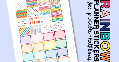 FREE Printable Rainbow Planner Stickers Half Boxes for Classic Happy Planner #plannerstickers #freeplannerstickers #freeprintable #plannerprintable #lovelyplanner