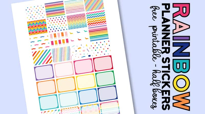 picture regarding Free Printable Rainbow called Totally free Printable Rainbow Planner Stickers Fifty percent Containers