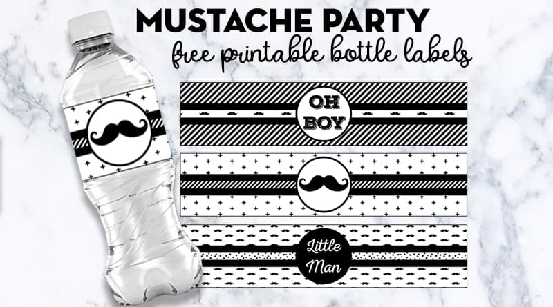 graphic about Printable Water Bottle Labels Free identified as Mustache Get together Bottle Labels - Cost-free Printable - Attractive Planner