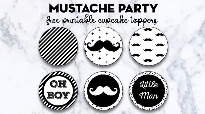 Free Printable Cupcake Toppers Mustache Party, Little Man Baby Shower + Lots of matching elements to decorate your event! All FREE! #mustachebash #babyshower #freepartyprintable #mustacheparty #cupcaketoppers #lovelyplanner