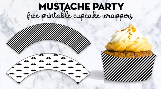 Free Printable Mustache Party Cupcake Wrappers + cupcake toppers and many matching printables to throw a great Little Man Baby Shower, Mustache Party Bash Birthday, etc. #mustacheparty #cupcakewrapper #freeprintable #lovelyplanner