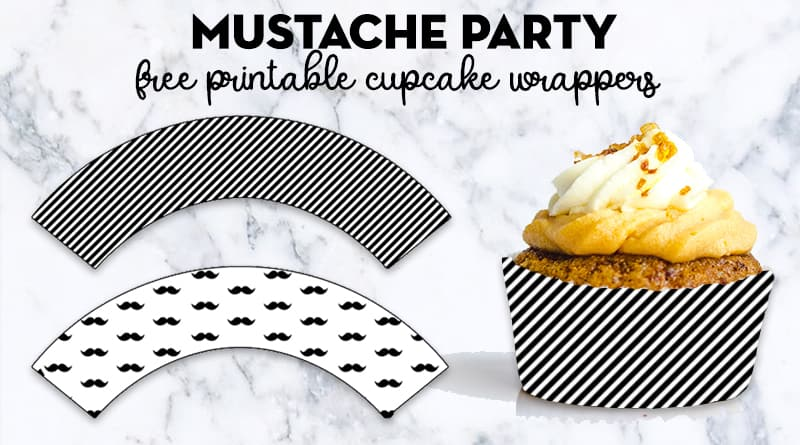 graphic relating to Printable Cupcake identified as Cost-free Printable Mustache Get together Cupcake Wrapper - Magnificent Planner