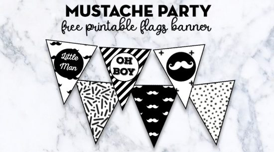 Mustache Party Flags Banner Free Printable + lots of matching Mustache Party free printables to decorate your baby shower, birthday, etc! #DIY #Partyprintable #banner #MustacheParty #LovelyPlanner
