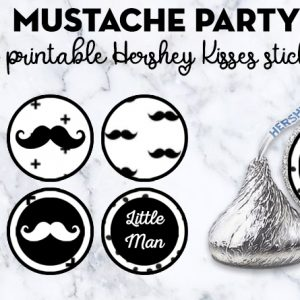 Free Printable Mustache Party Hershey Kisses stickers + many matching printables to decorate your baby shower, little man birthday... #freeprintable #partyprintable #mustacheparty #babyshower #hersheykisses #lovelyplanner