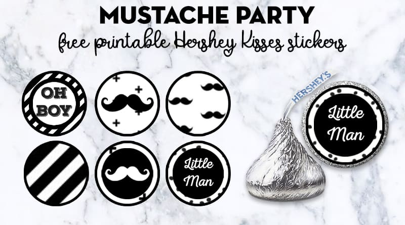 graphic about Free Mustache Printable titled Totally free Printable Mustache Occasion Hershey Kisses - Attractive Planner