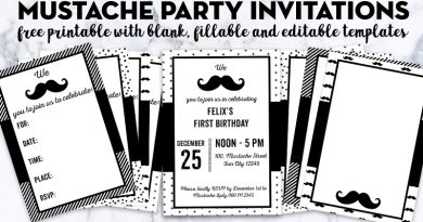 Free Printable Mustache Party invitations with blank and editable templates for your next event: baby shower, birthday, etc. More matching Mustache party free printables available!