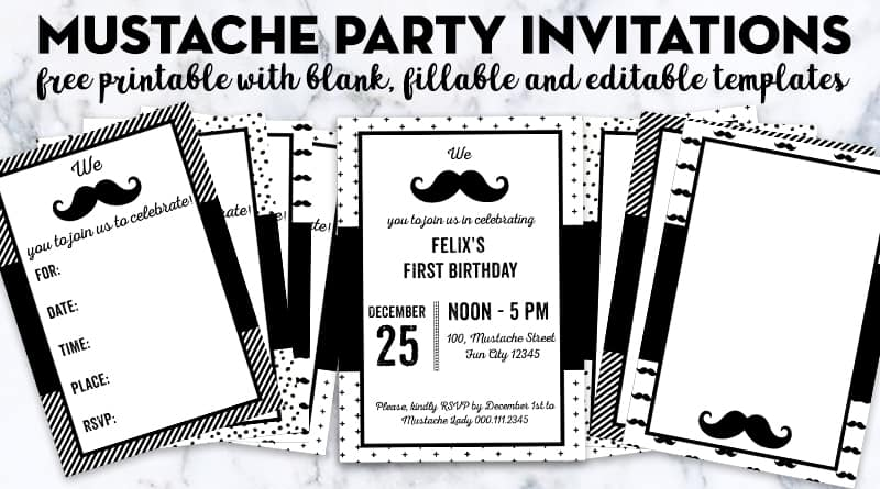 free printable mustache party invitations blank editable