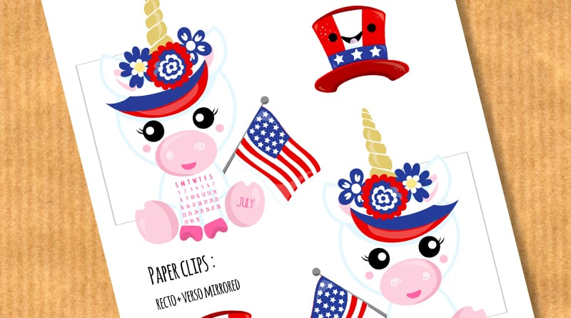 Free Printable Unicorn 4th Of July Calendar Divider + Paperclip #freeprintable #freeplannerprintable #planner