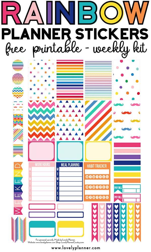 FREE Printable Rainbow Planner Stickers - Weekly Kit ...