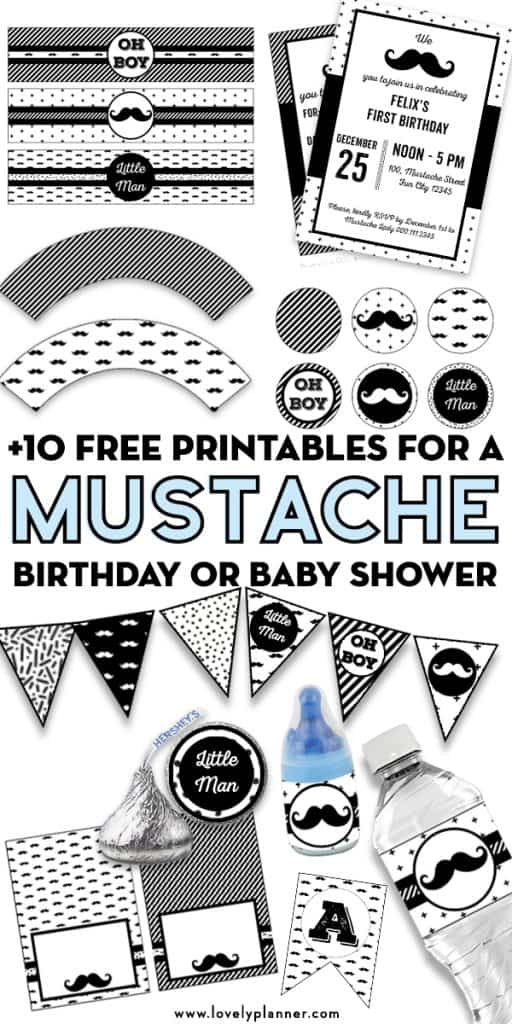 Pack of 10 FREE Printables to decorate your Mustache Birthday, Mustache Baby Shower or Party: alphabet banners, editable invitations, flag banners, cupcake wrappers and toppers, hershey kisses stickers, baby bottle pop labels, bottle labels, food tents, place cards, candy bag toppers... #freeprintable #mustacheparty #littleman #lovelyplanner