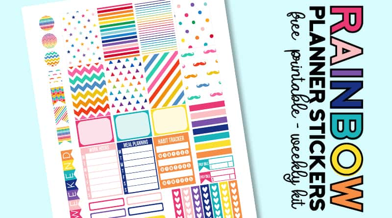 Free Printable Rainbow Planner Stickers. This weekly kit includes different types of planner stickers: meal planning, habit tracker, checklists, half boxes, full boxes, etc. Made to fit the Classic Happy Planner. Many other matching free rainbow planner stickers available!