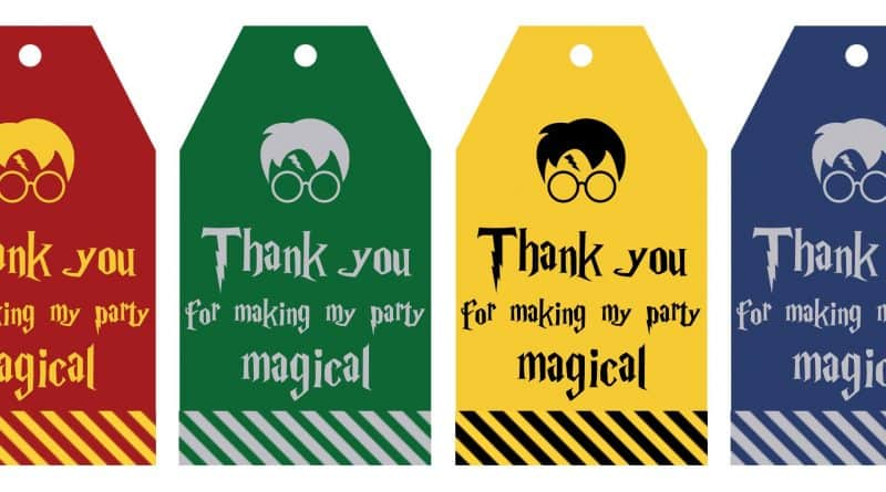 "Free Printable Harry Potter Party favor gift tags in 4 different colors to match the 4 different Hogwart's Houses. Each gift tag says ""Thank you for making my party magical"", perfect to add to your party favors for your harry potter birthday, harry potter baby shower, halloween party, etc! #harrypotter #harrypotterparty #halloween #party #partyfavor #gifttags #freeprintable"