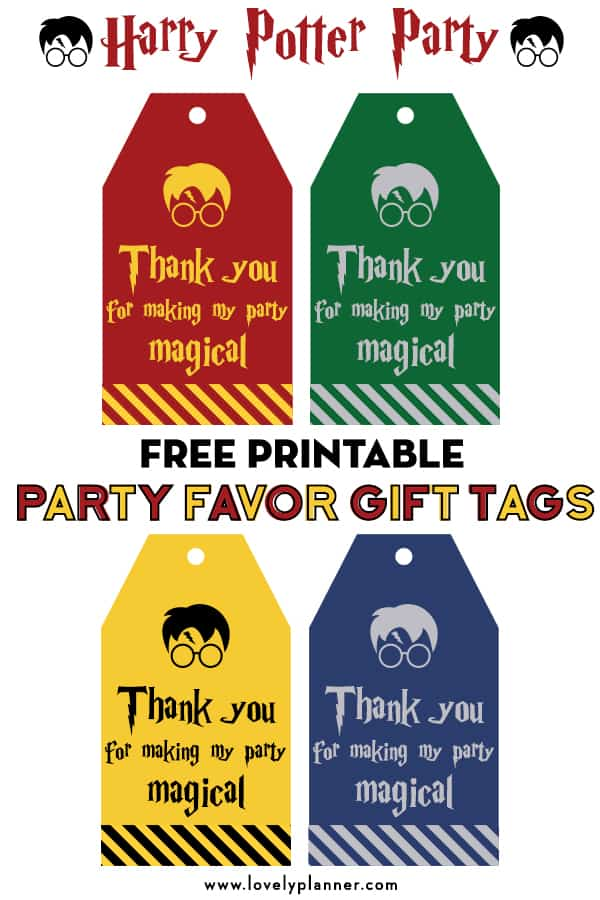 graphic relating to Thank You Printable Tag known as Cost-free Printable Harry Potter Get together Want Present Tags - Magnificent