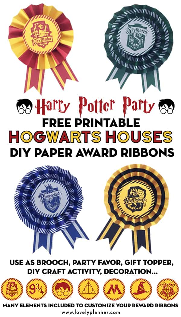 Free Printable Hogwart's Houses DIY Paper Award Ribbons to create awesome party favors or decoration for your Harry Potter Party. Gryffindor, Slytherin, Hufflepuff and Ravenclaw Houses colors included! Many ways to use them: brooch, sorting hat, reward, party favor, gift topper, garland... #harrypotter #HarryPotterparty #freeprintable #hogwarts #harrypotterprintable #DIY #craft #kidscraft #partydecor #lovelyplanner