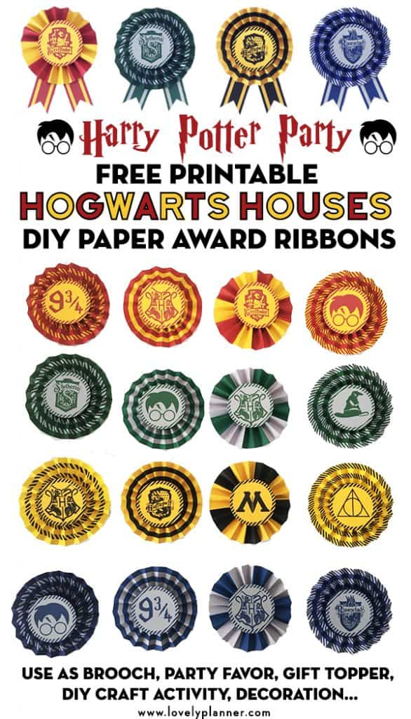 picture about Harry Potter Decorations Printable titled Cost-free Printable Hogwarts Homes Do-it-yourself Award Ribbons - Harry