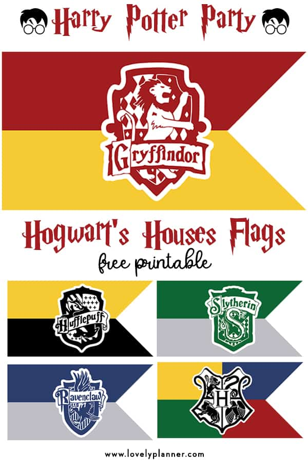 Free Printable Hogwart S Houses Flags Harry Potter Party Lovely