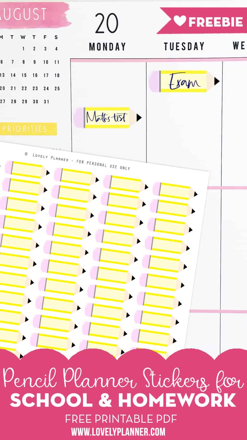 free printable pencil school planner stickers - lovely planner