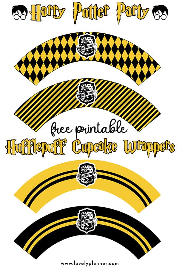 photo regarding Hogwarts Banner Printable named Absolutely free Printable Harry Potter Cupcake Wrappers : Hufflepuff