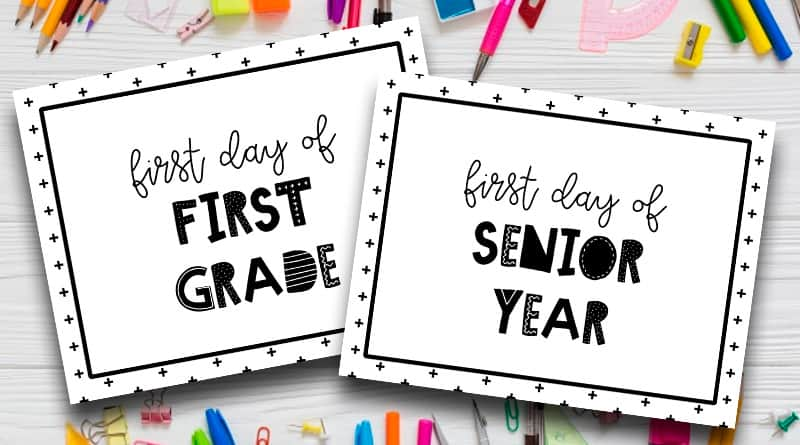 photograph relating to First Day of School Sign Printable referred to as To start with Working day Of College\