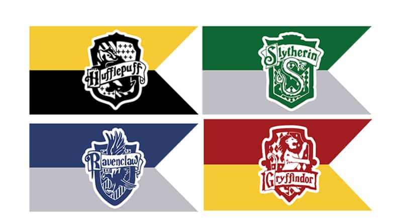 Free Printable Hogwarts Houses Flags For Your Harry Potter Party Decoration Just Add A Wooden