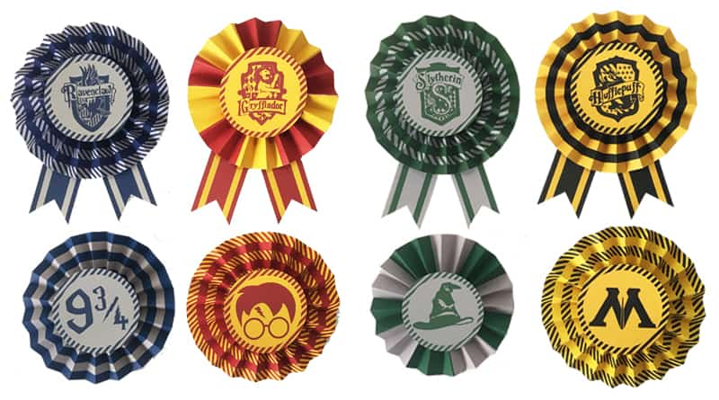 Free Printable Hogwarts Houses DIY Paper Award Ribbons For Your Harry Potter Party Decoration Or