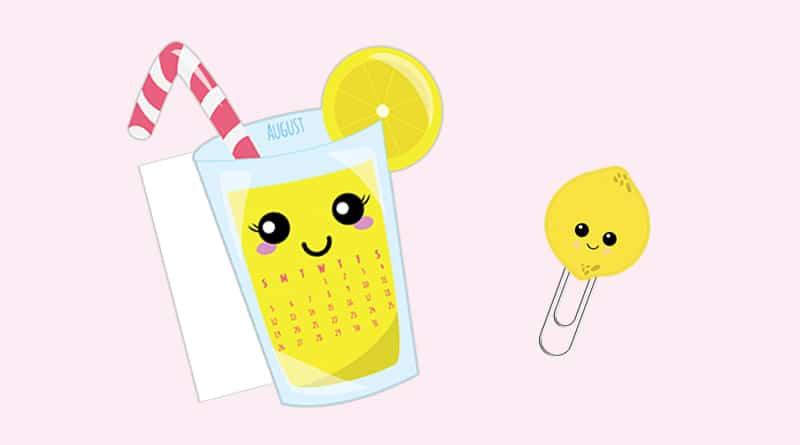 Free Printable Lemonade Calendar Divider + Paperclip - August 2018