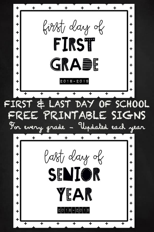 FREE PRINTABLE set of last day of school sign: includes every grade from Preschool to Senior Year. Updated with current year every year. #school #backtoschool