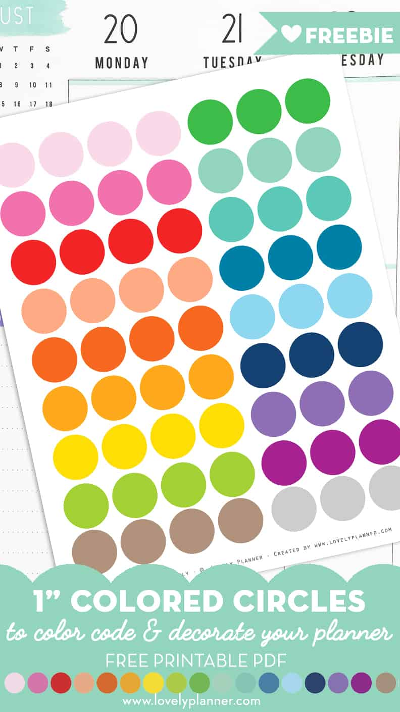 Free Printable 1 Circle Planner Stickers Rainbow Colors Lovely Planner