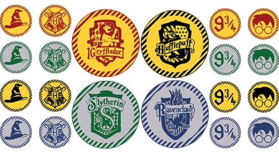 "Free Printable Harry Potter Cupcake Toppers / 2"" Party Circles to decorate your cupcakes for your Harry Potter Party + free matching cupcake wrappers also available. #harrypotter #potter #harrypotterparty #cupcaketoppers #cupcakes #lovelyplanner"