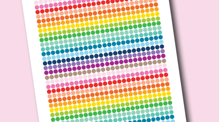 """Free Printable 0.25"""" Rainbow Colored Circles Planner Stickers"""