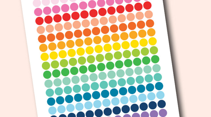 """Free Printable 0.5"""" circle planner stickers - rainbow colors"""