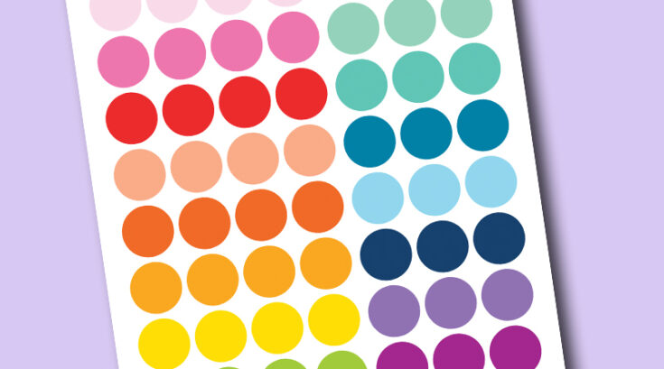 """Free Printable 1"""" circle planner stickers - rainbow colors"""