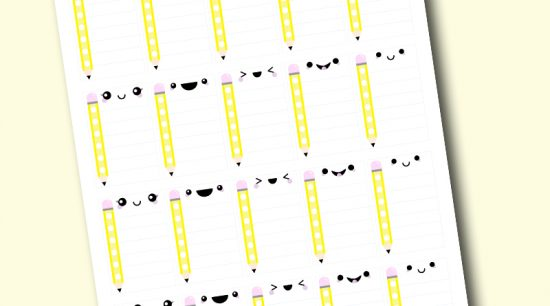 Free Printable Kawaii Full Box School Checklist Stickers to keep track of yourhomework and school activities in your planner + more Back to School free printables! #freeprintable #planner #printable #pencil #homeschool #school #homework #backtoschool #lovelyplanner