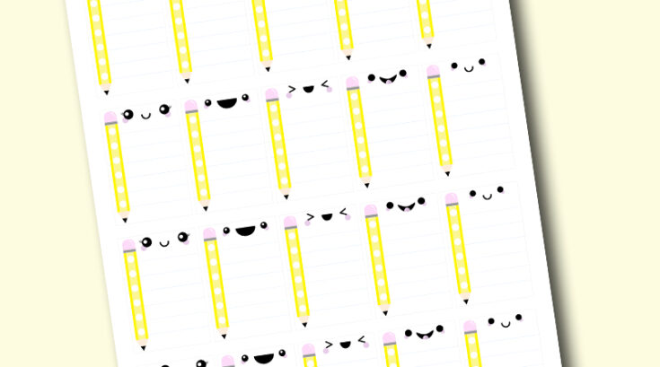 Free Printable Kawaii Pencil School Checklist Stickers (Full Box)