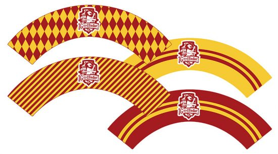 Free Printable Gryffindor Cupcake Wrappers for your Harry Potter Party. With matching cupcake toppers and cupcake wrappers for the 4 Hogwarts Houses. #freeprintable #harrypotter #harrypotterparty #halloween #gryffindor #cupcake #cupcakewrappers #lovelyplanner