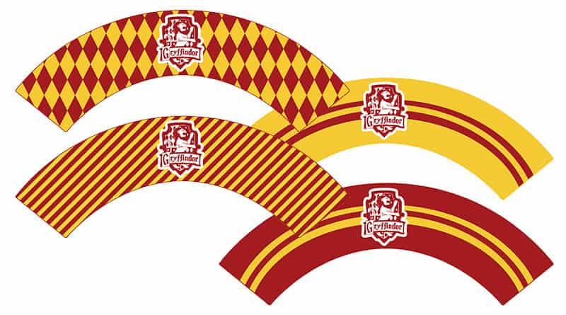 Free Printable Gryffindor Cupcake Wrappers For Your Harry Potter Party With Matching Toppers And