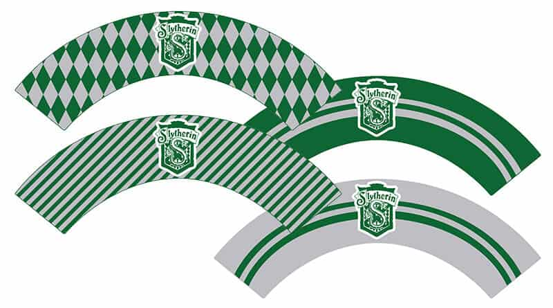 Free Printable Slytherin Cupcake Wrappers for your Harry Potter Party. With matching cupcake toppers and cupcake wrappers for the 4 Hogwarts Houses. #freeprintable #harrypotter #harrypotterparty #halloween #slytherin #cupcake #cupcakewrappers #lovelyplanner