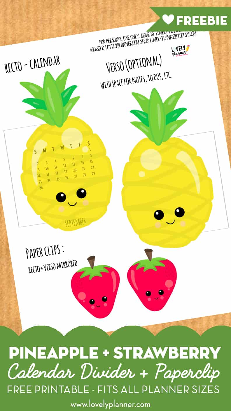 picture about Free Printable Pineapple identified as Pineapple Strawberry calendar divider and paperclip absolutely free