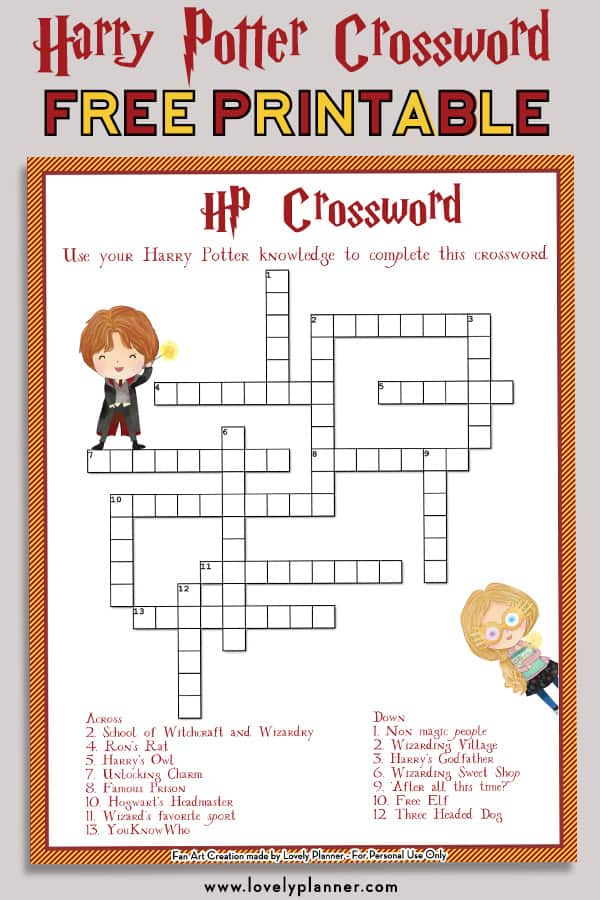 picture relating to Free Printable Fill in Puzzles called No cost Printable Harry Potter Crossword Puzzle - Magnificent Planner