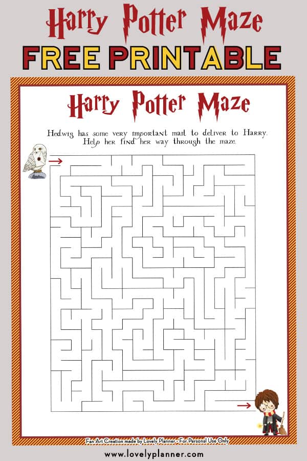 image about Harry Potter Crossword Puzzle Printable named Harry Potter Maze - No cost Printable Little ones Video game Sheet