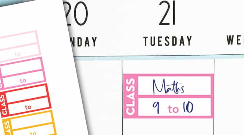 Free printable class schedule planner stickers in rainbow colors. They match with the other free school stickers and functional stickers available. #freeprintable #planner #Plannerstickers #class #school #lovelyplanner