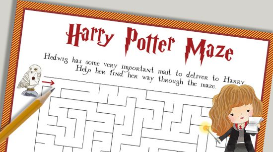 Free printable Harry Potter Maze kids activity sheet. Also print out the matching crossword puzzle and HP characters word search. #freeprintable #harrypotter #kidsactivity #printable #puzzle #lovelyplanner