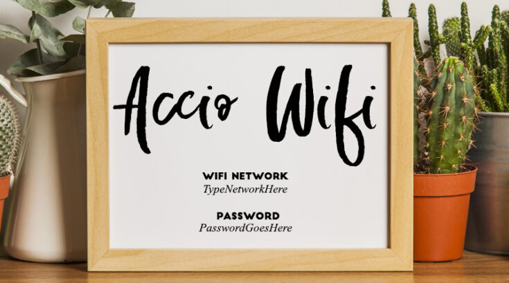 """Accio Wifi"" Harry Potter Free Printable Wifi Password with Editable PDF"
