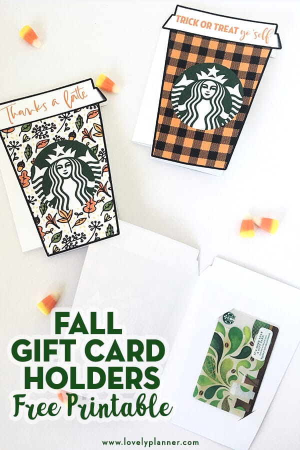 This Free Printable fall Thanks a latte Starbucks gift card holder will be a perfect gift idea for many occasions and many recipients. Perfect gift idea for teachers, neighbors, friends and family! A perfect gift for any coffee lovers really! #giftcardholder #giftcard #starbucks #coffee #freeprintable #starbucks #pumpkinspicelatte #fall #halloween #lovelyplanner