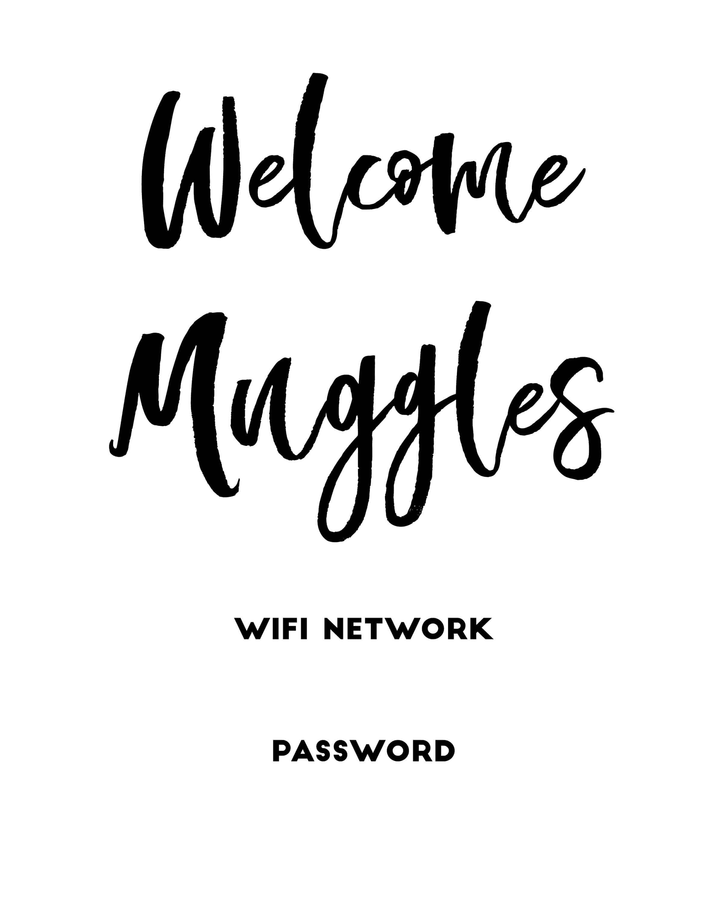 photograph regarding Wifi Password Sign Printable known as Welcome Muggles\