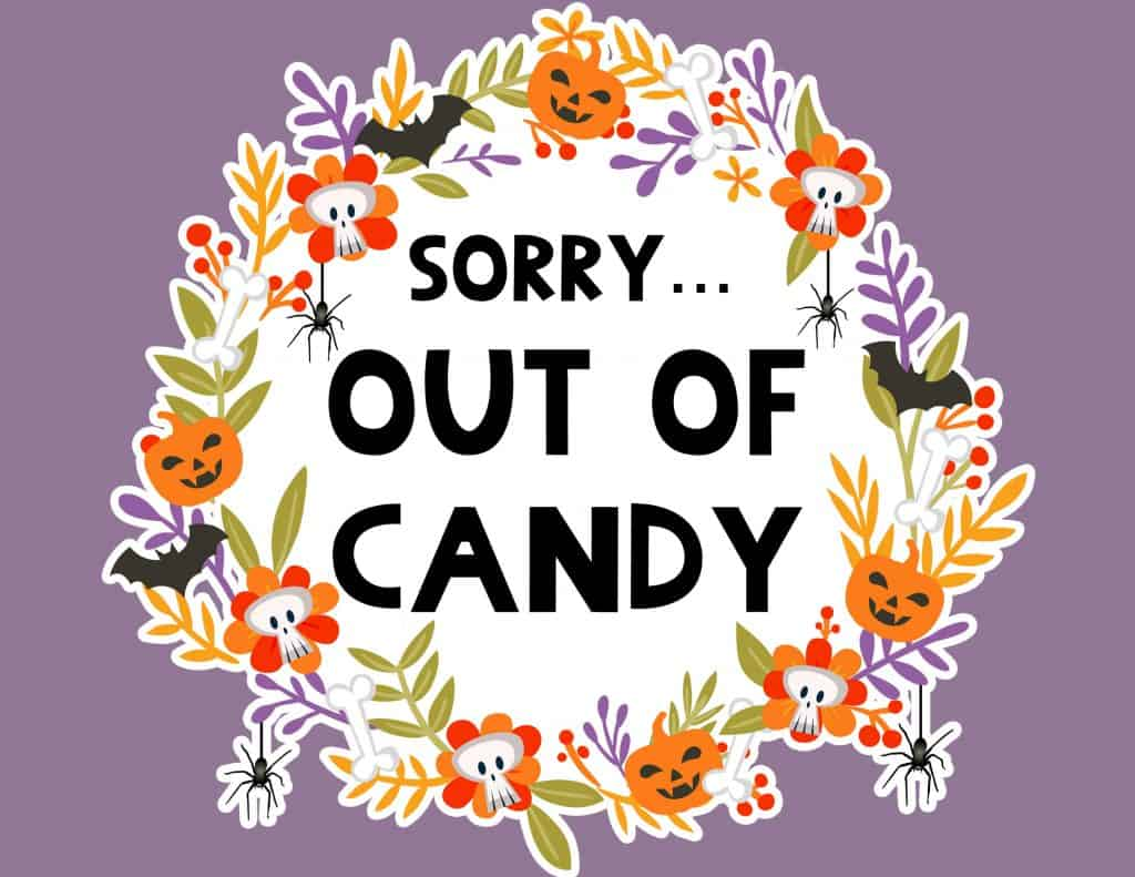 Calendar Planner Diy : Free printable halloween out of candy sign lovely planner