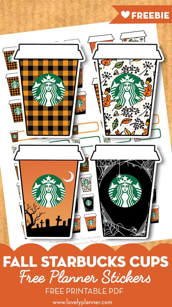 Free Printable Fall Starbucks Cups Planner Stickers