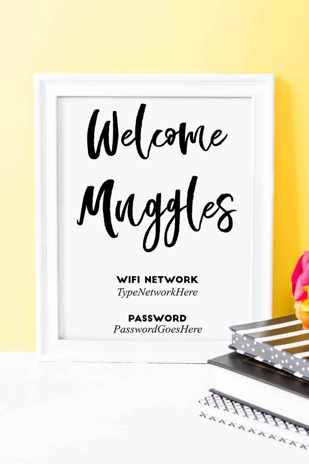 graphic relating to Wifi Password Sign Printable titled Welcome Muggles\