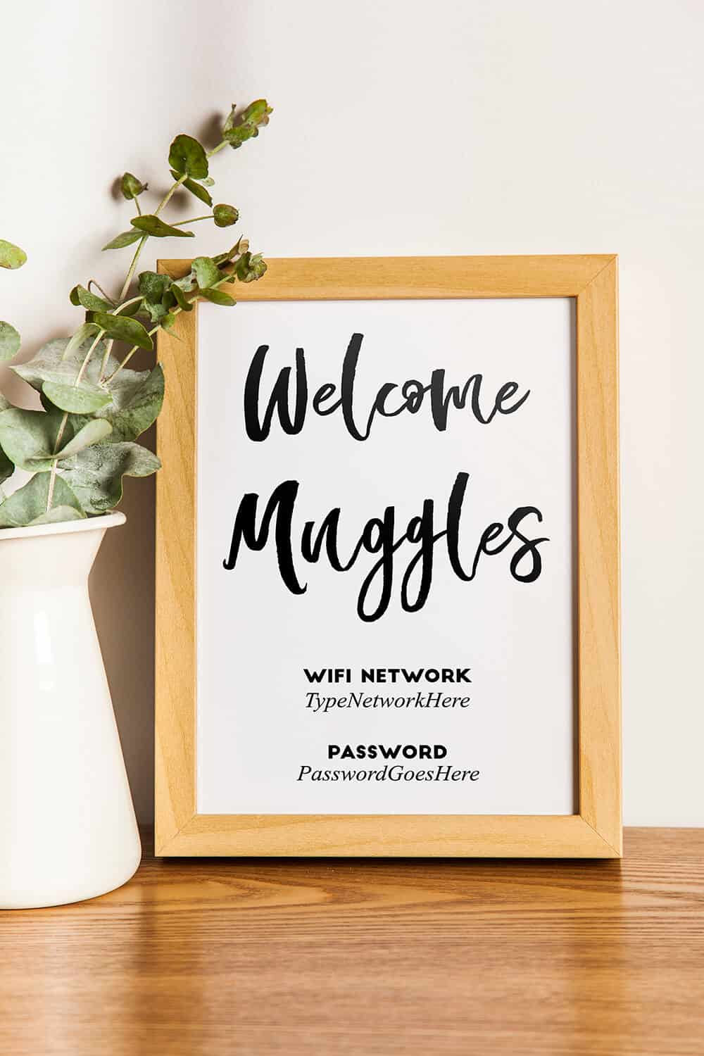 picture regarding Wifi Password Sign Printable referred to as Welcome Muggles\