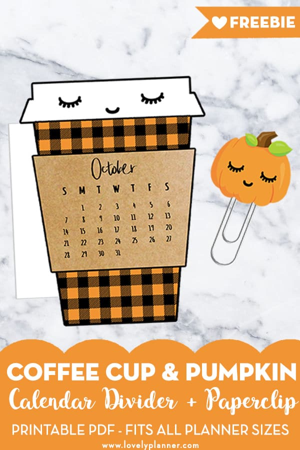 Free Printable Coffee Cup Calendar Divider